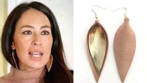 joanna gaines leather leaf earrings