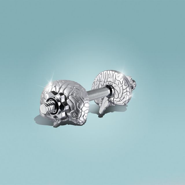 a dumbbell on a pink background, the weights are shapped as brains