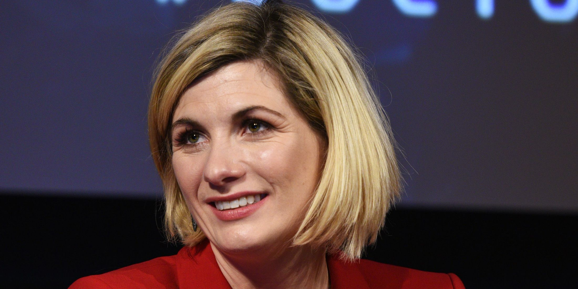 Jodie Whittaker speaks onstage at the DOCTOR WHO panel during New York Comic Con
