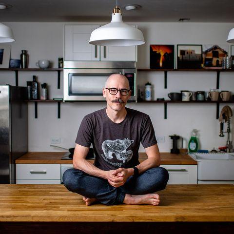 Jody Bailey self-portrait in his kitchen in Canada in March 2020.