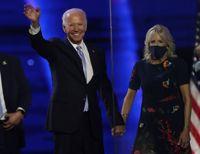 wilmington, delaware   november 07  president elect joe biden and jill biden wave to the crowd after biden's address to the nation from the chase center november 07, 2020 in wilmington, delaware after four days of counting the high volume of mail in ballots in key battleground states due to the coronavirus pandemic, the race was called for biden after a contentious election battle against incumbent republican president donald trump photo by tasos katopodisgetty images