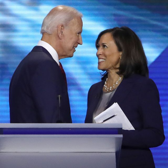 former vice president joe biden and sen kamala harris d ca speak after the democratic presidential debate at texas southern universitys health and pe center on september 12, 2019 in houston, texas ten democratic presidential hopefuls were chosen from the larger field of candidates to participate in the debate hosted by abc news in partnership with univision photo by win mcnameegetty images