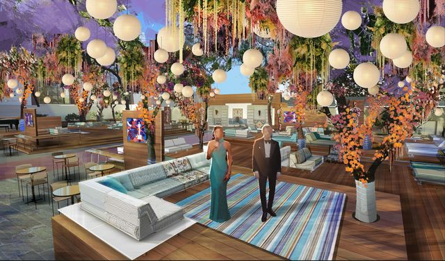 oscar set design 2021 by rockwell group showing view of preshow outdoor deck and garden