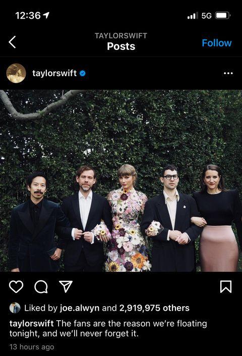 joe alwyn liking taylor's grammys instagram
