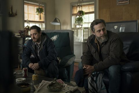 joe tippett and robbie tann as john and billy ross in hbo's mare of easttown