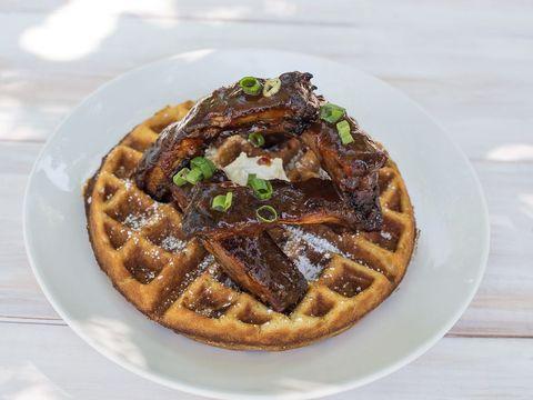Dish, Food, Waffle, Belgian waffle, Cuisine, Breakfast, Ingredient, Meal, Baked goods, Recipe,