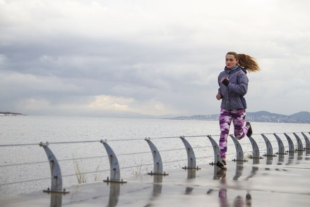 jogging in a rainy winter day