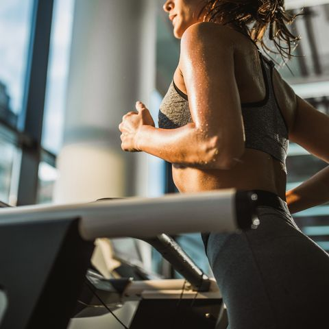 jogging on treadmill in a gym