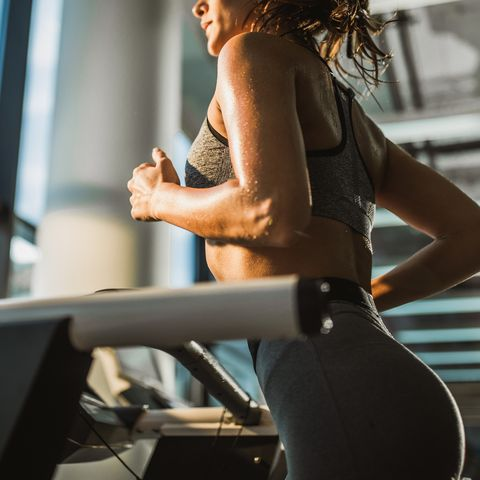 jogging on treadmill in a gym