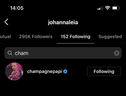 drake and johanna following each other on ig