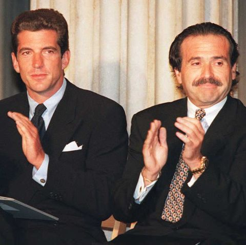 John Kennedy Jr. (L) and David J. Pecker, CEO of H