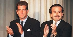 John Kennedy Jr. (L) and David J. Pecker, CEO of H