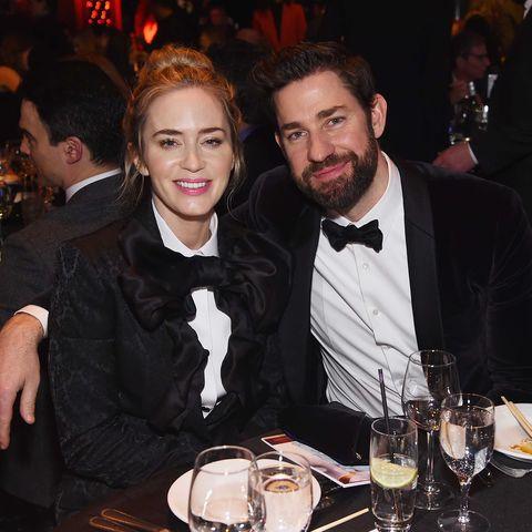 Emily Blunt & John Krasinski Look Adorable in Matching Tuxedos at the Writers Guild Awards 2019