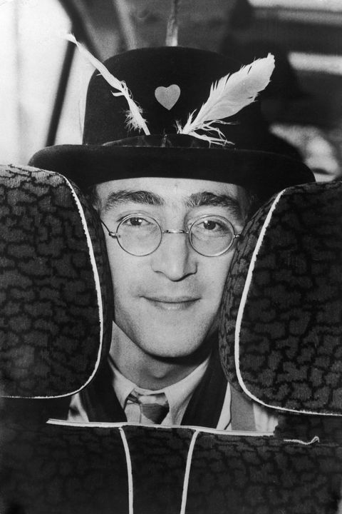 "john lennon on the bus during the filming of ""the magical mystery tour"""