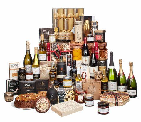 Basket, Product, Hamper, Alcohol, Distilled beverage, Liqueur, Present, Gift basket, Drink, Home accessories,