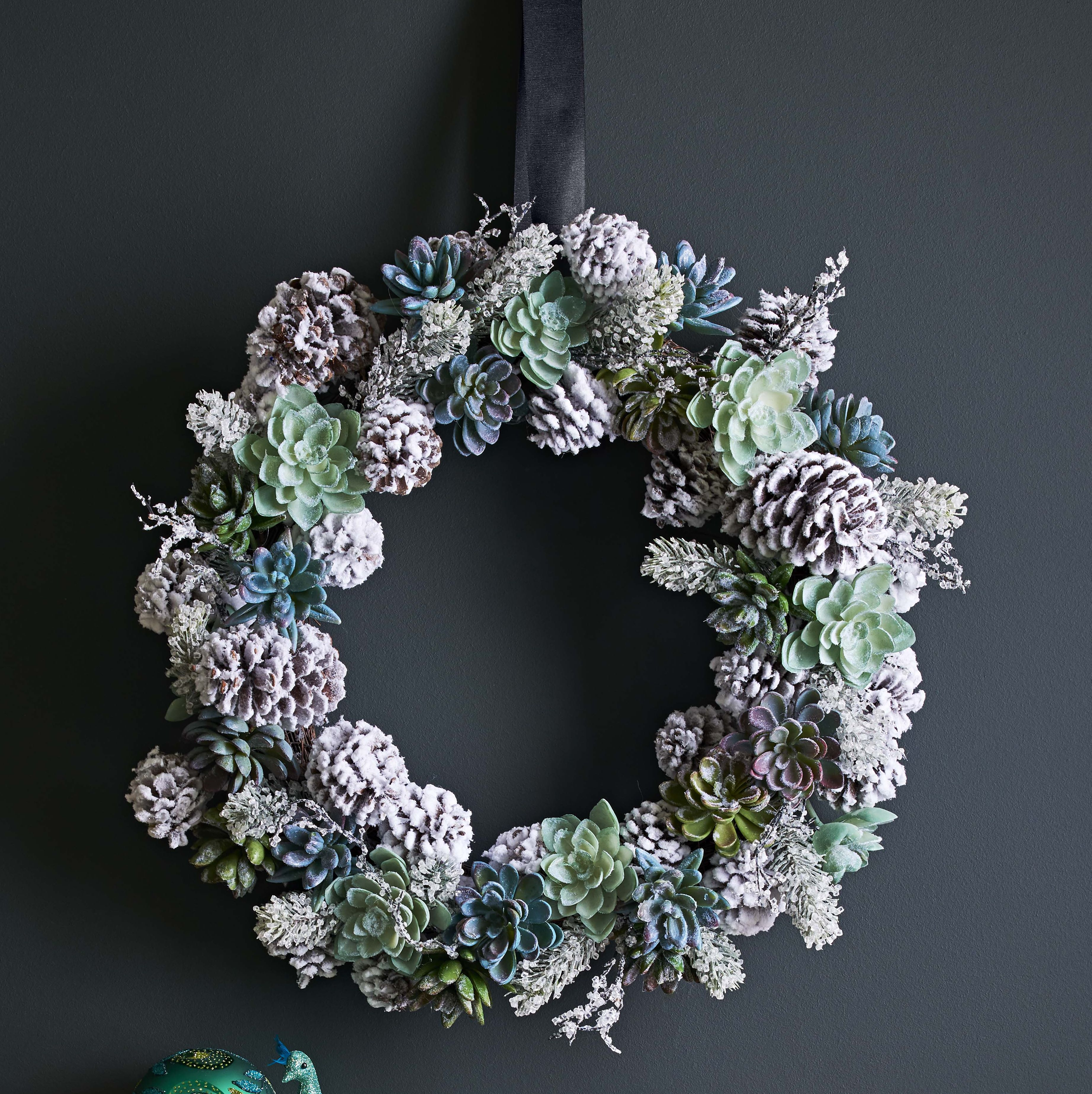 John Lewis Emerald Frosted Succulent Wreath - Christmas wreath