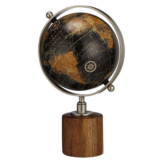 John Lewis Globe on Wooden Stand, Black