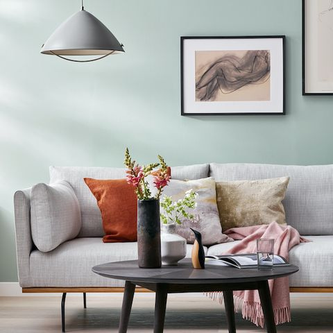 contemporary living room with grey sofa, john lewis