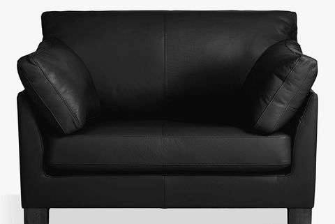 John Lewis & Partners Ikon Leather Snuggler, Dark Leg, Contempo Black = loveseat sofa