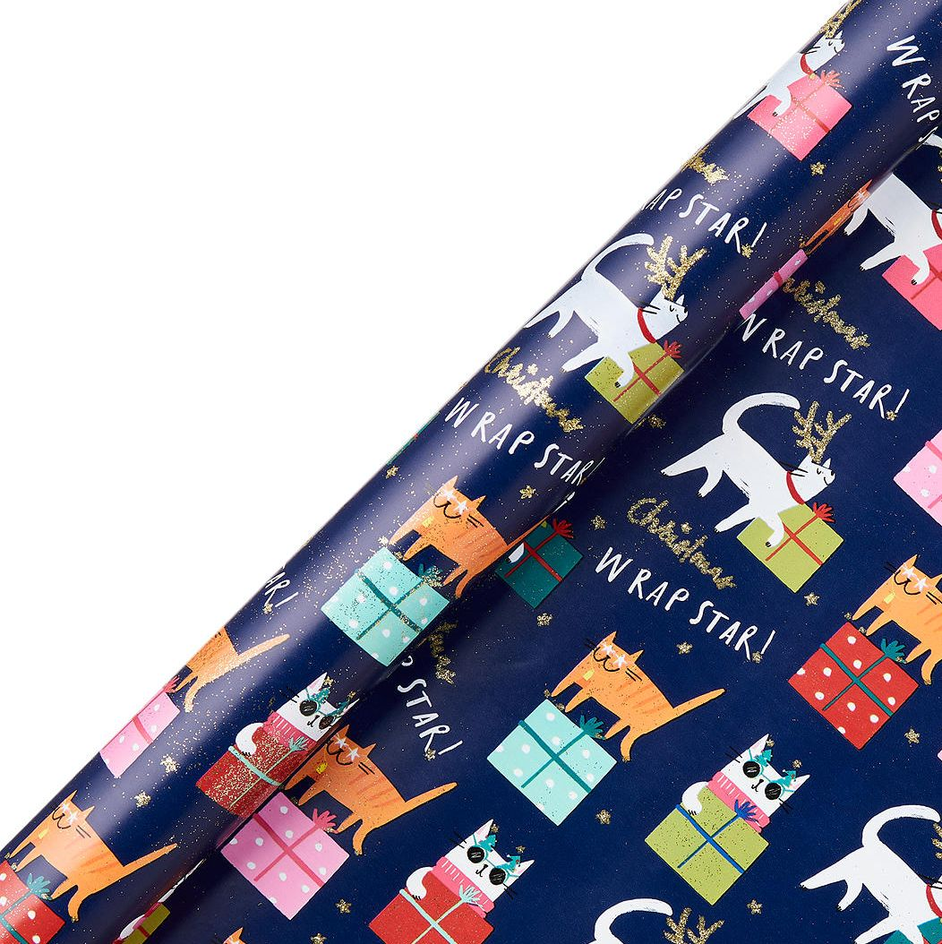 John Lewis & Partners Rainbow Christmas Cats Gift Wrap, 3m