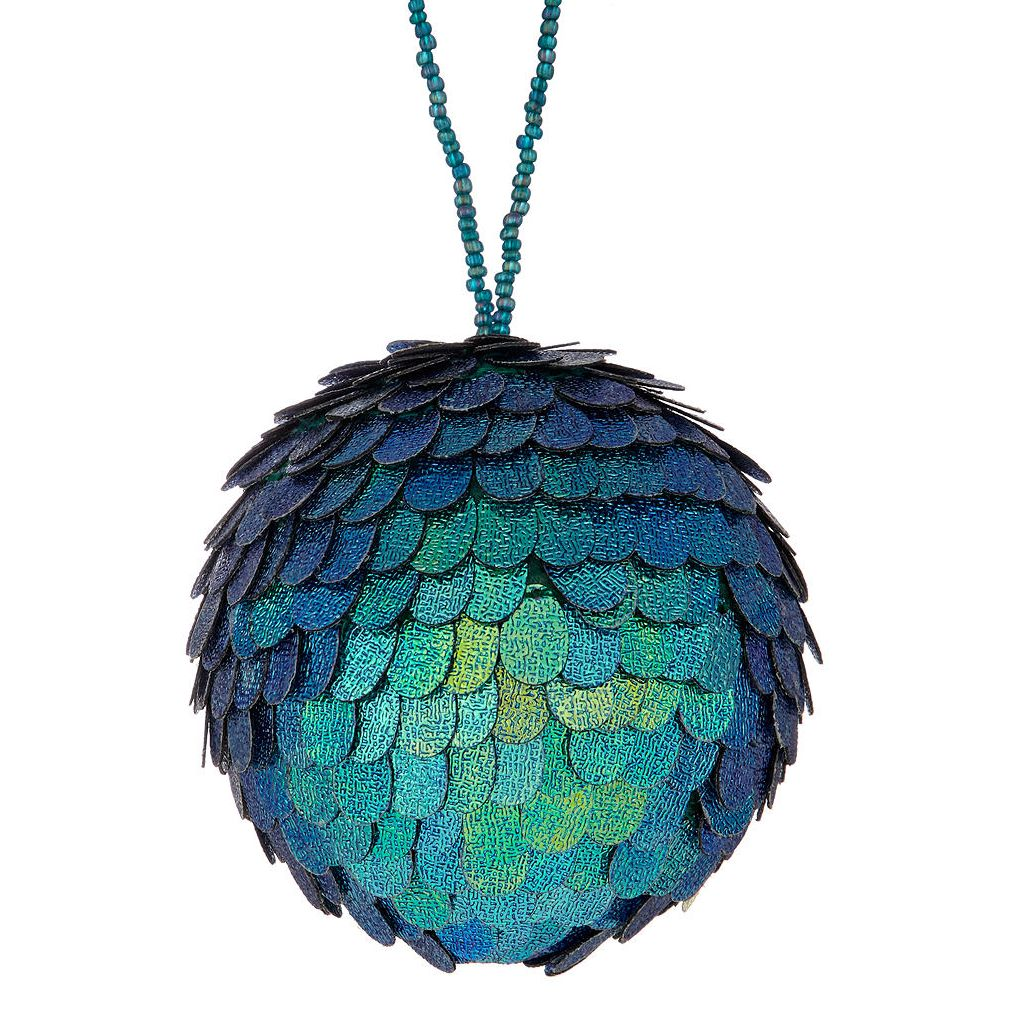 John Lewis & Partners Sapphire Jewelled Seaweed Bauble, Blue - Christmas bauble 2018