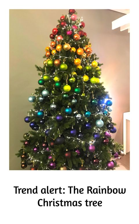 john lewis rainbow christmas tree 2018 christmas tree decoration trend - Christmas Decor Trends 2018