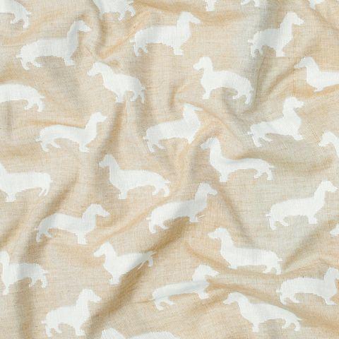 John Louden Sausage Dog Print Fabric, Cream