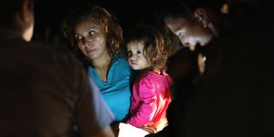 A mother and child at the border in Texas
