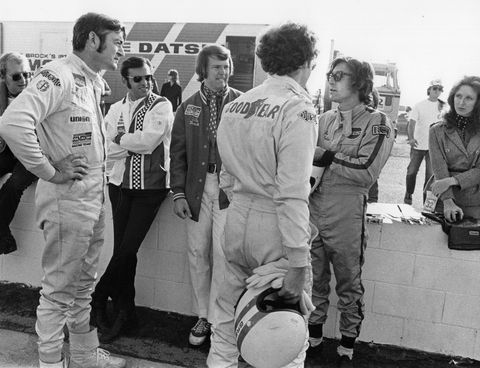 from left to right bobby allison, ed cholakian, peter brock, peter gregg, john morton, and lori kneep