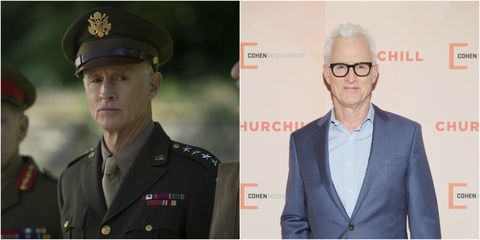 John Slattery as President Eisenhower and John Slattery at the New York Premiere of Churchill