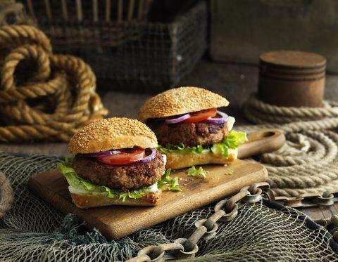 Hamburger, Food, Slider, Dish, Veggie burger, Cuisine, Buffalo burger, Fast food, Sandwich, Ingredient,