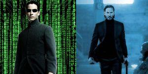 Keanu Reeves en Matrix y John Wick