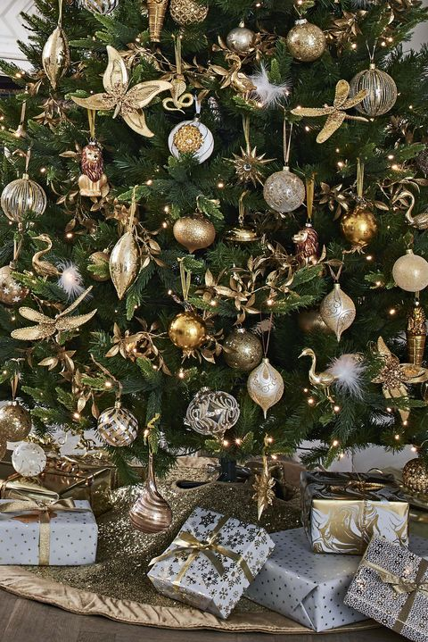 Gold Sequin Tree Skirt - John Lewis Christmas Tree Decorations 2018