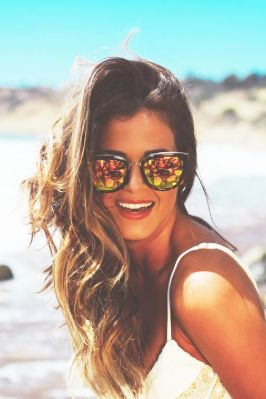 Eyewear, Vision care, Lip, Glasses, Hairstyle, Photograph, Sunglasses, Happy, Summer, Facial expression,