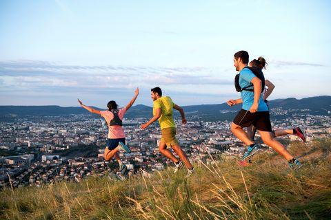 People in nature, Running, Outdoor recreation, Fun, Recreation, Adventure racing, Sky, Friendship, Leisure, Mountain,