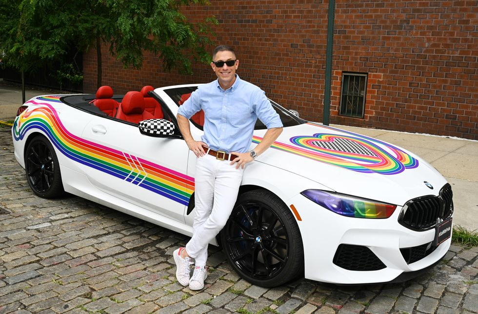 The designer dreamed up this rainbow-covered car just in time for the NYC Pride Parade.
