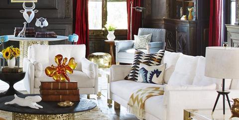 Living room, Room, Furniture, Interior design, Yellow, Orange, Table, Chair, Floor, Building,