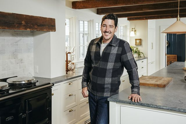 as seen on hgtv's farmhouse fixer, jonathan knight and his designer kristina crestin, work to revitalize farmhouses in the northeast he poses for a portrait in the renovated kitchen of a farmhouse in ipswich, massachusetts