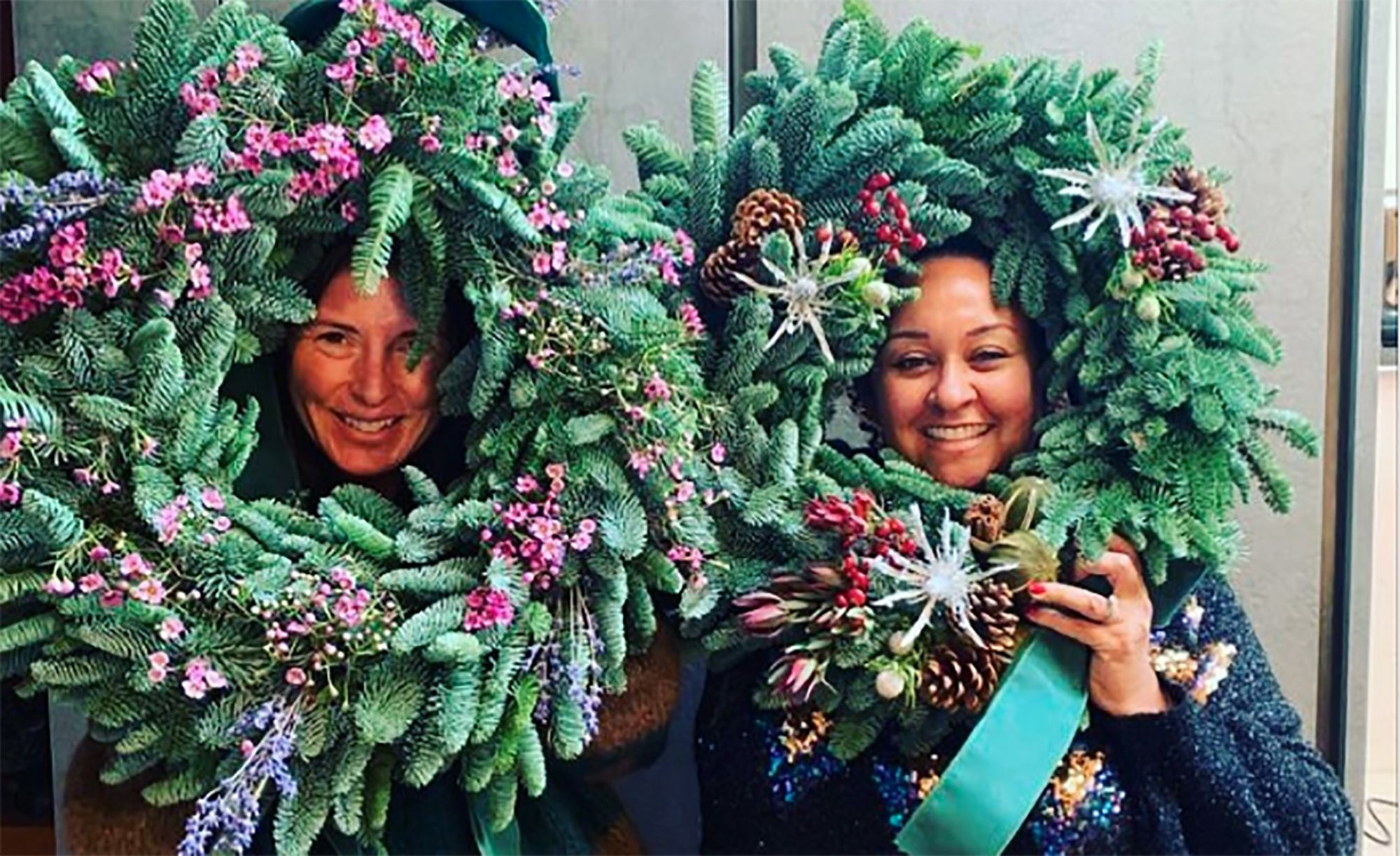 Jools Oliver shows off her impressive handmade Christmas wreath