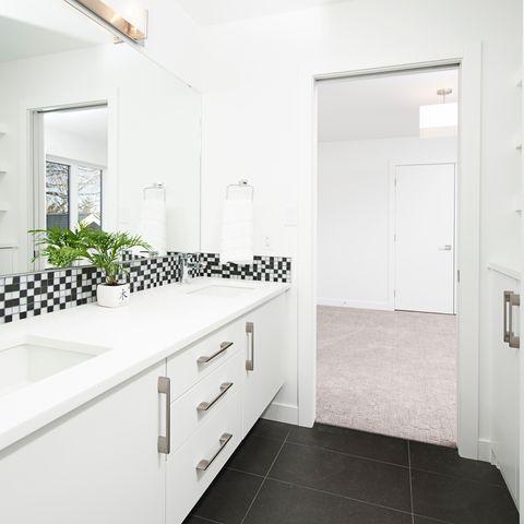 Room, Architecture, Interior design, Property, Floor, Plumbing fixture, White, Wall, Tap, Flooring,