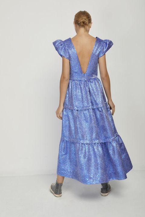 Clothing, Blue, Dress, Day dress, Fashion model, One-piece garment, Fashion, Neck, Shoulder, Formal wear,