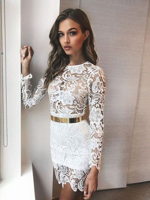 Clothing, White, Dress, Fashion model, Crop top, Neck, Fashion, Cocktail dress, Sleeve, Shoulder,