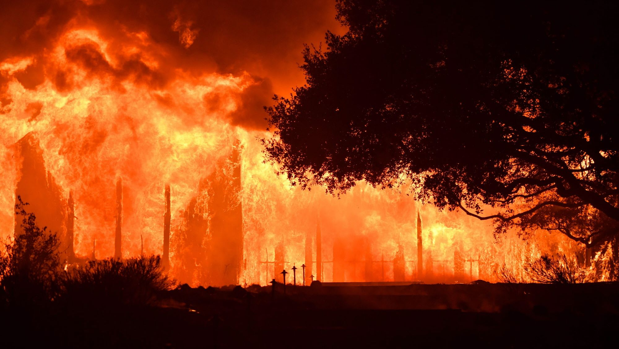 The main building at Paras Vinyards burns in the Mount Veeder area of Napa in California on October 10, 2017. Firefighters battled wildfires in California's wine region on Tuesday as the death toll rose to 15 and thousands were left homeless in neighborhoods reduced to ashes.