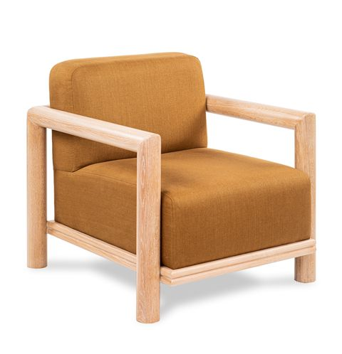 lounge chair with wooden arms and deep mustard cushion