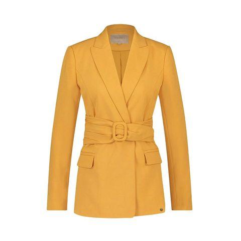 Clothing, Outerwear, Yellow, Blazer, Jacket, Coat, Sleeve, Beige, Trench coat, Overcoat,
