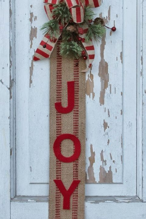 joy burlap christmas door decoration