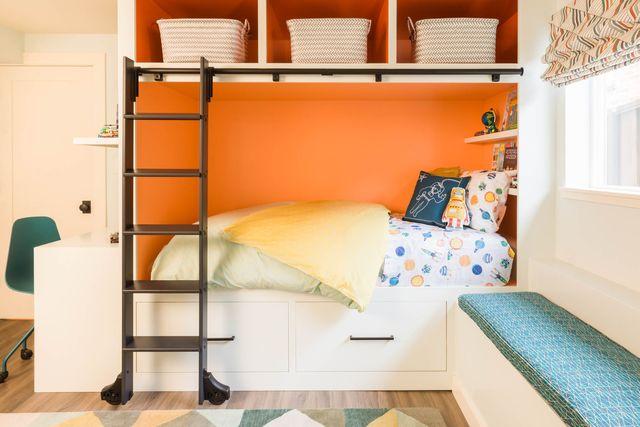 bedroom, kids bedroom, orange paint, bunk bed