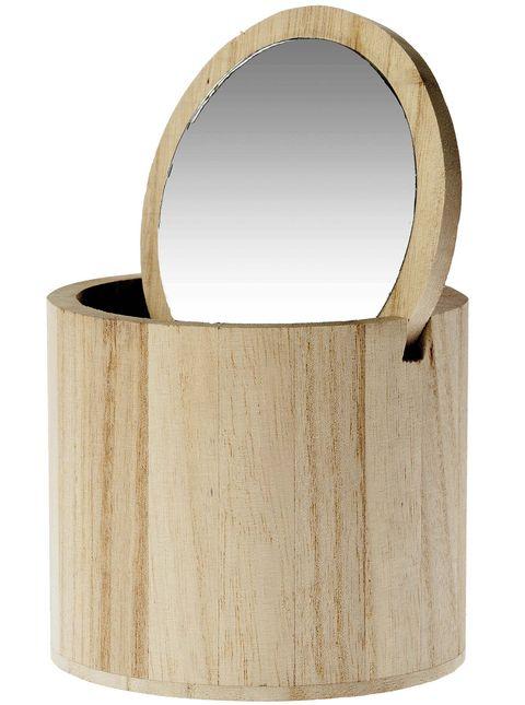 Joyero de madera con espejo