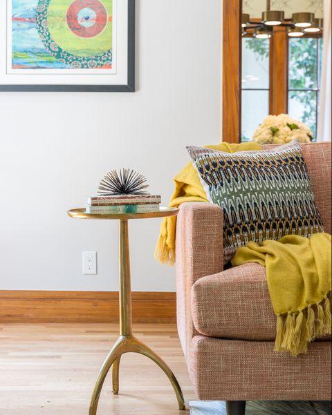 Furniture, Yellow, Room, Green, Interior design, Table, Turquoise, Aqua, Living room, Wall,