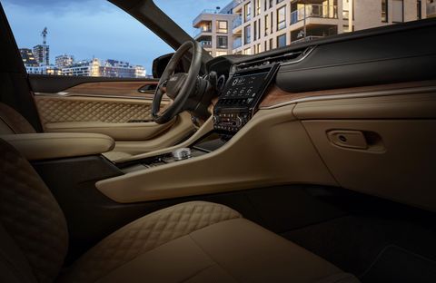 the all new 2021 jeep® grand cherokee l summit reserve interior front row with hand wrapped, quilted palermo leather and open pore waxed walnut wood accents
